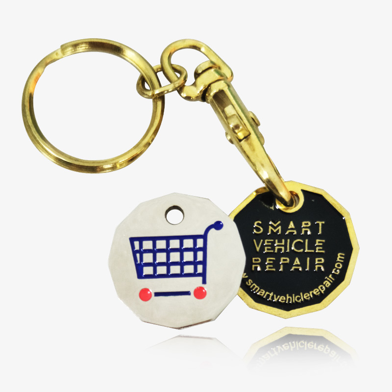 trolley coin keyring