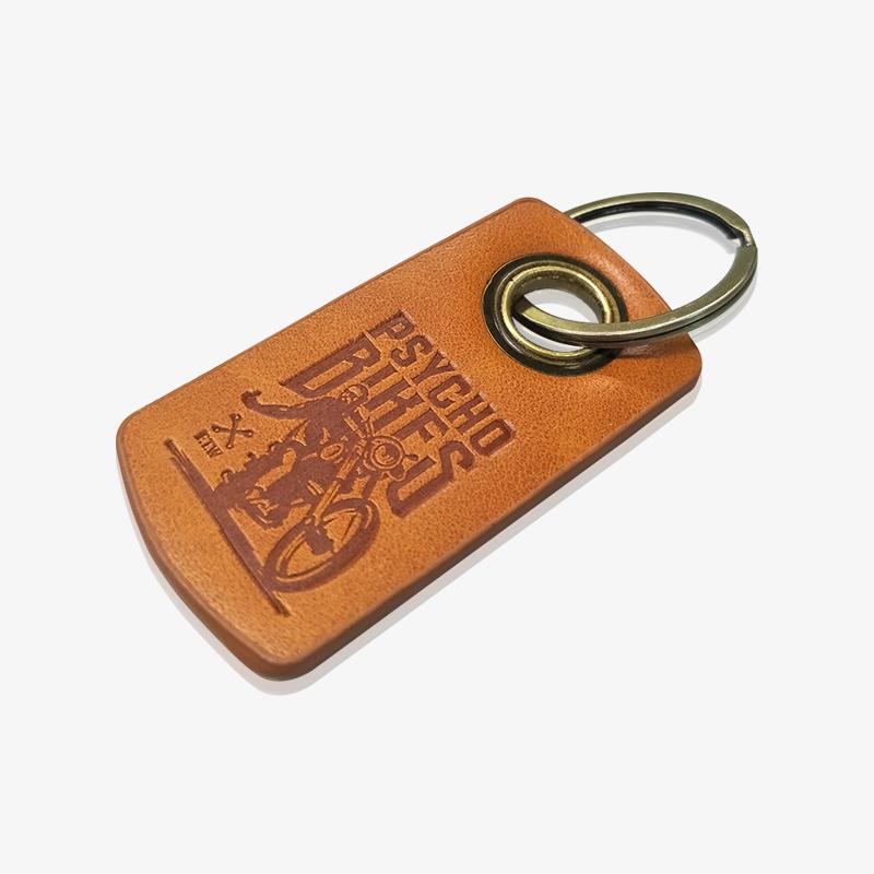 monogram leather keychain-2